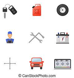 自動車, セット, 平ら, サービス, アイコン
