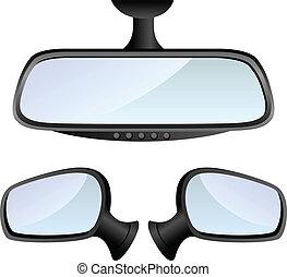 自動車, セット, 鏡