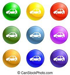 自動車, セット, 電気である, 充満, アイコン