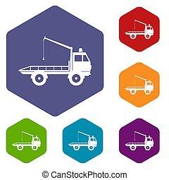 自動車, セット, towing, トラック, アイコン