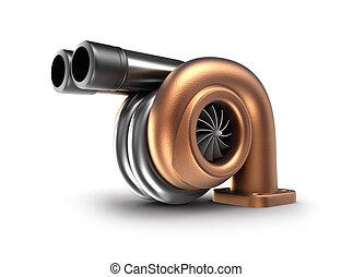 自動車, タービン, concept., turbocharger.