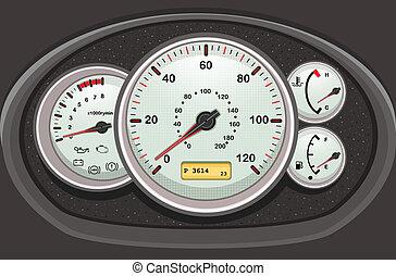 自動車, ダッシュボード, そして, dials.