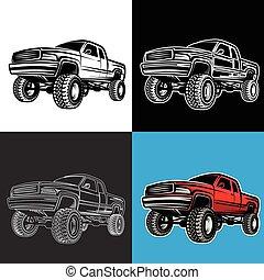 自動車, トラック, 4x4, ピックアップ, オフロード