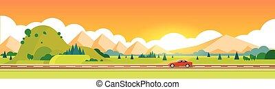 自動車, ドライブしなさい, 道, 山地, 夏, 風景, 横, 旗
