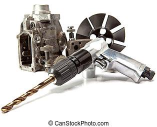 自動車, ドリル, 背景, -, 高く, 修理, 圧力, 空気 ポンプ, 詳細, 白