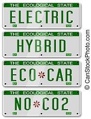 自動車, ハイブリッド, 電気である, プレート
