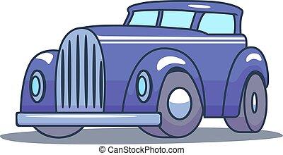 自動車, バックグラウンド。, ベクトル, レトロ, 白, 漫画
