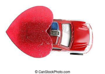 自動車, バレンタイン, 警察, 日, 赤