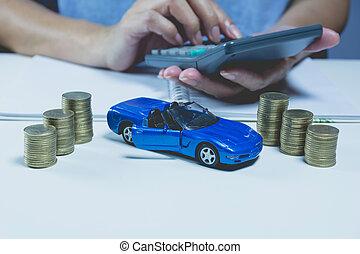 自動車, ビジネス, concept., 保険, 山, コイン, サービス