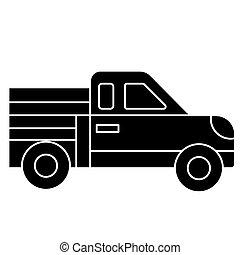 自動車, ピックアップ, アイコン, ベクトル, イラスト, 黒, 印, 上に, 隔離された, 背景
