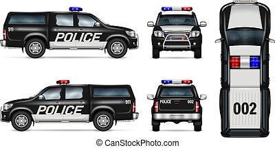 自動車, ピックアップ, ベクトル, 警察, mockup