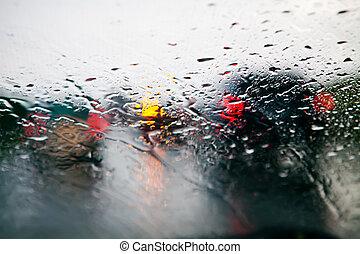 自動車, フロントガラス, 中に, 交通渋滞, の間, 雨