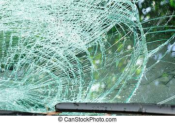 自動車, フロントガラス, 壊される, 事故