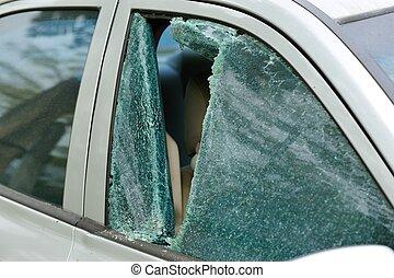 自動車, フロントガラス, 強盗, 壊される