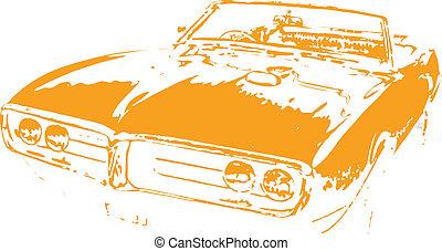 自動車, ベクトル, クラシック, clipart, 筋肉