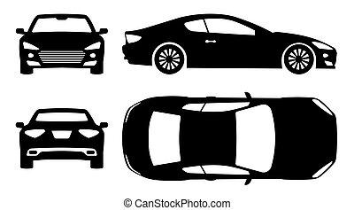 自動車, ベクトル, スポーツ, 黒, アイコン, イラスト