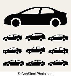 自動車, ベクトル, セット, アイコン