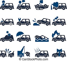 自動車, ベクトル, セット, 保険, アイコン