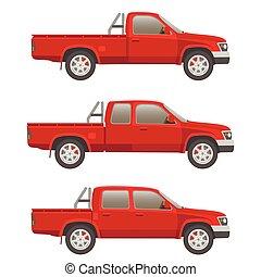 自動車, ベクトル, ピックアップ トラック, イラスト