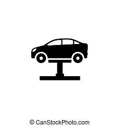 自動車, ベクトル, 平ら, 持ち上がること, アイコン