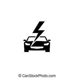 自動車, ベクトル, 平ら, 速い, アイコン