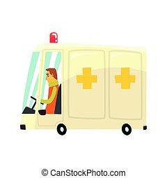 自動車, ベクトル, 漫画, イラスト, 救急車