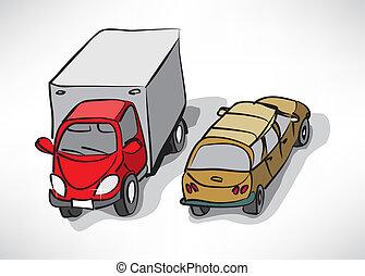 自動車, ベクトル, 現代, 漫画