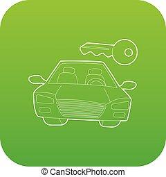 自動車, ベクトル, 緑のキー, アイコン
