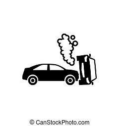 自動車, ベクトル, 衝突, 平ら, アイコン