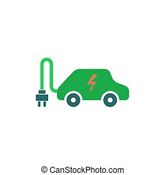 自動車, ベクトル, 電気である, アイコン