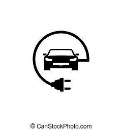 自動車, ベクトル, 電気である, 平ら, アイコン