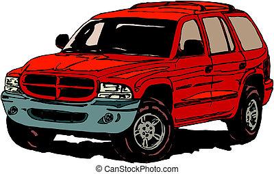 自動車, ベクトル, 4x4, 漫画