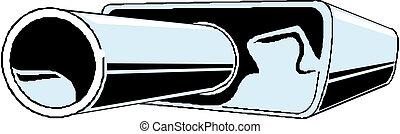 自動車, ベクトル, exhaust., イラスト