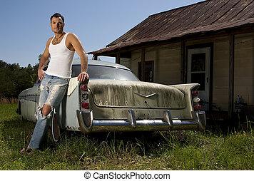 自動車, モデル, マレ, 古い, 若い