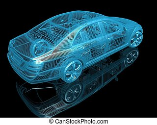 自動車, モデル, 黒, 反射, 背景