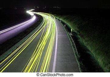 自動車, ライト, 交通, 道, 夜, blurry