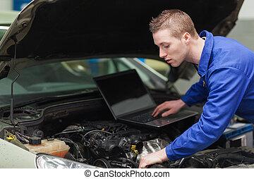 自動車, ラップトップ, 機械工