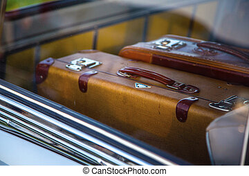 自動車, レトロ, スーツケース