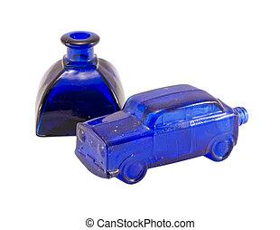 自動車, レトロ, 青, アルコール, びん, 隔離された, ガラス, 小さい