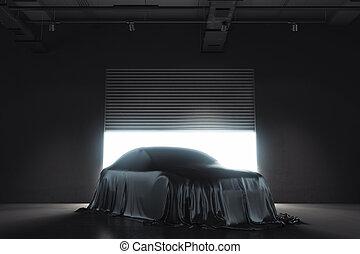 自動車, レンダリング, 黒, プレゼンテーション, cloth., カバーされた, 3d