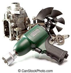 自動車, レンチ, 背景, -, 高く, 修理, 圧力, 影響, 空気 ポンプ, 詳細, 白