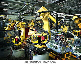 自動車, ロボット, 工場, 溶接