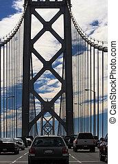 自動車, 上に, 湾 橋