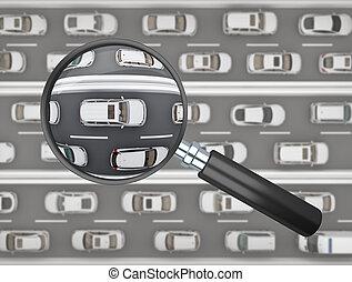 自動車, 上に, 道, magnifier, 白, 満たされた, 横列