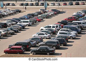 自動車, 上に, 駐車