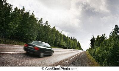 自動車, 上に, a, 田舎の道路