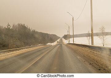 自動車, 上に, a, road.