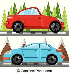 自動車, 上に, forestal, トラック, ルード, 風景