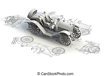 自動車, 上, チャート, レトロ, モデル, 3d