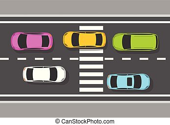 自動車, 上, -, ハイウェー, 交通, の上, 道, 光景